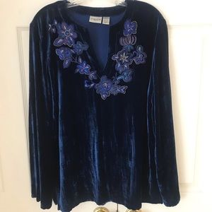 Chico's Royal Blue Velveteen Top Size 2